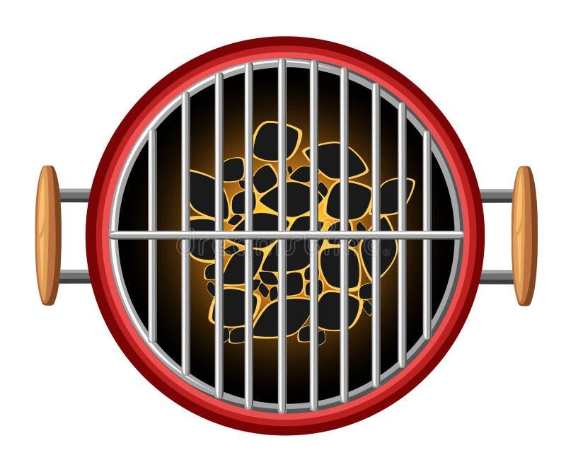 Grilla projekta elementów grilla odgórnego widoku palenie bunkruje bbq przyrządu pykniczną kulinarną ilustrację odizolowywającą n royalty ilustracja