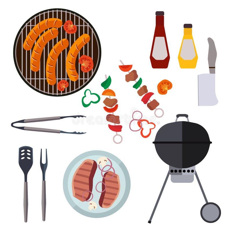 Grilla projekta grill i elementy piec na grillu lata jedzenie ilustracja wektor