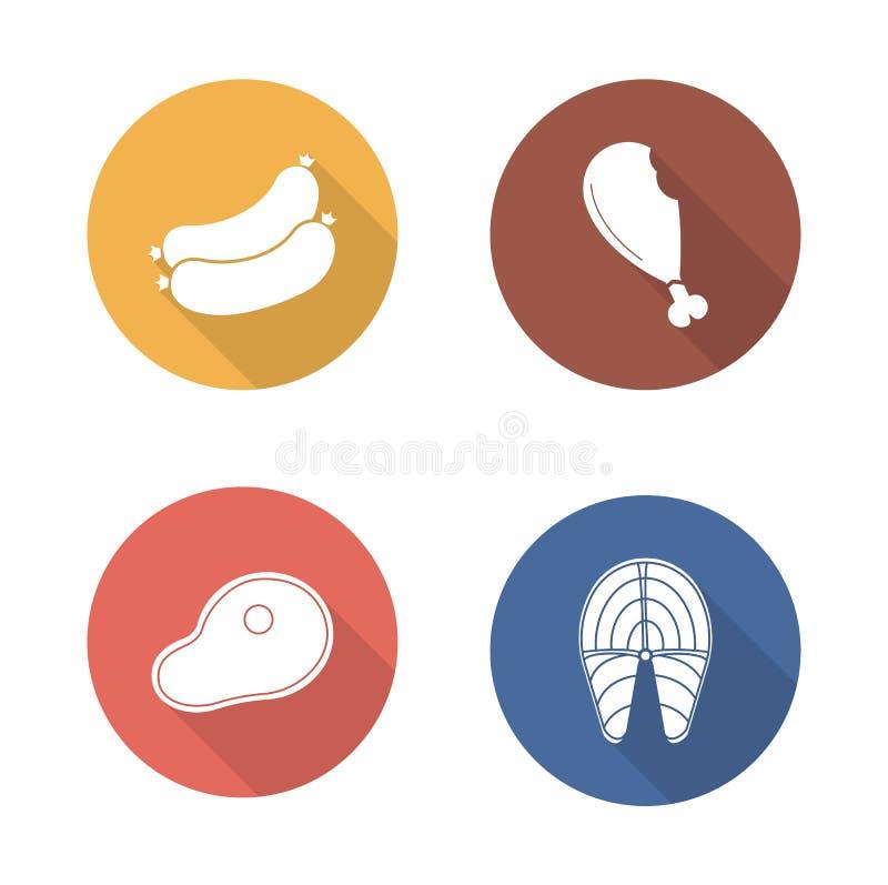 Grilla projekta mięsne płaskie ikony ustawiać ilustracja wektor