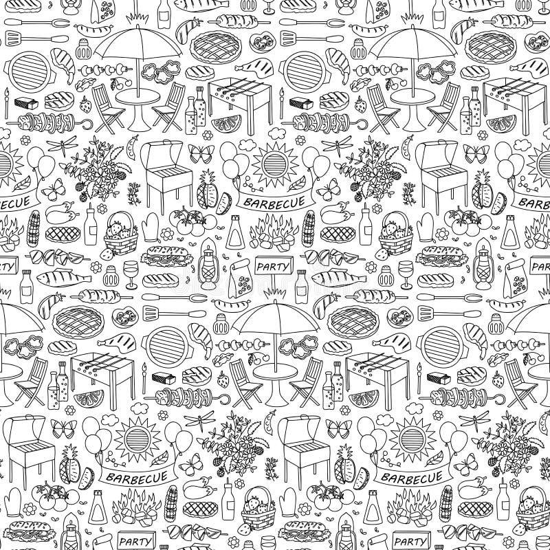 Grilla przyjęcia doodle bezszwowy wzór royalty ilustracja