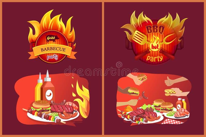 Grilla grilla przyjęcia emblematy w płomieniu i jedzeniu ilustracja wektor