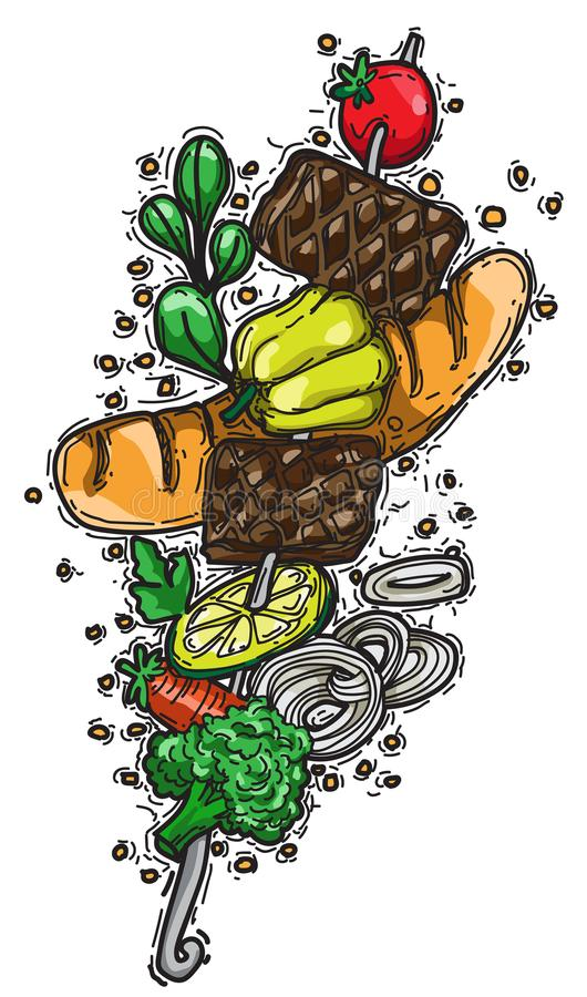 Grilla przyjęcie na grillu, talerzach z kurczakiem i warzywach, mea ilustracji