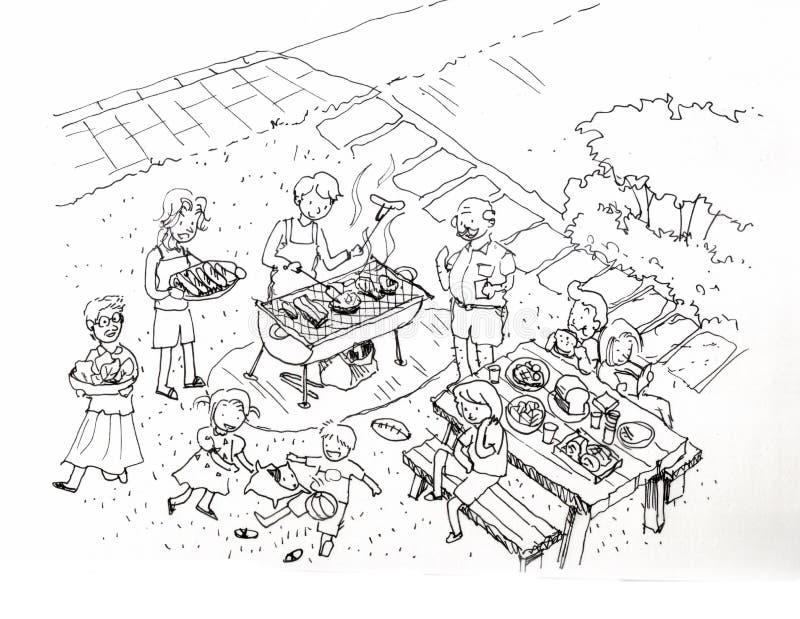 Grilla przyjęcie przy jard ilustracją ilustracja wektor