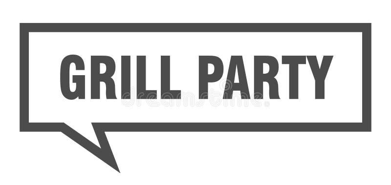 grilla przyj?cia znak grill mowy partyjny bąbel Grilla przyj?cie royalty ilustracja