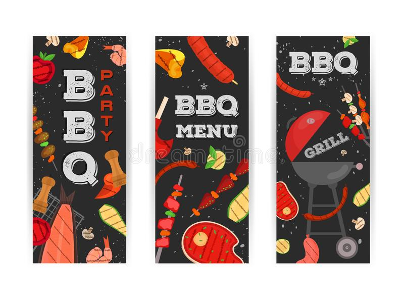 Grilla przyj?cie, menu, zaproszenie projekt BBQ ilustracja wektor