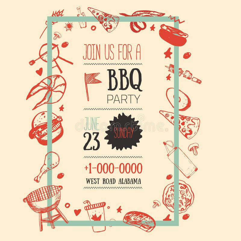 Grilla reklambladmallen för ditt parti med grungesymboler och inrama Bakgrund för BBQ-tappninggaller vektor illustrationer