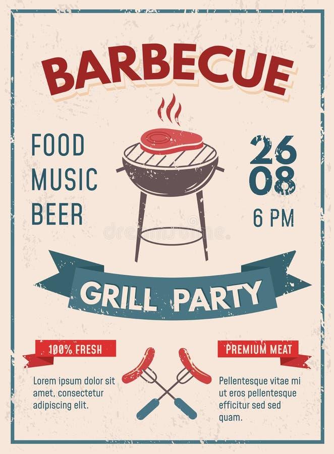 Grilla retro plakat z grunge skutkiem BBQ przyjęcia zaproszenia d ilustracji
