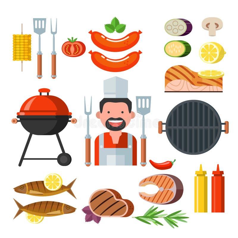 Grilla set Kolorowy clipart Mięso, ryba, warzywa, grill C ilustracja wektor