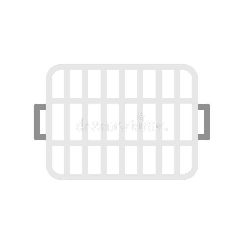 Grilla spisgallersymbolen som lagar mat equipmemtlägenhetdesign stock illustrationer