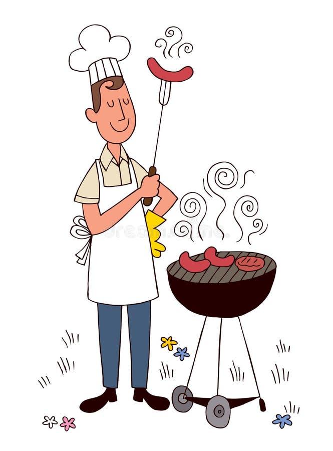Grilla szef kuchni royalty ilustracja