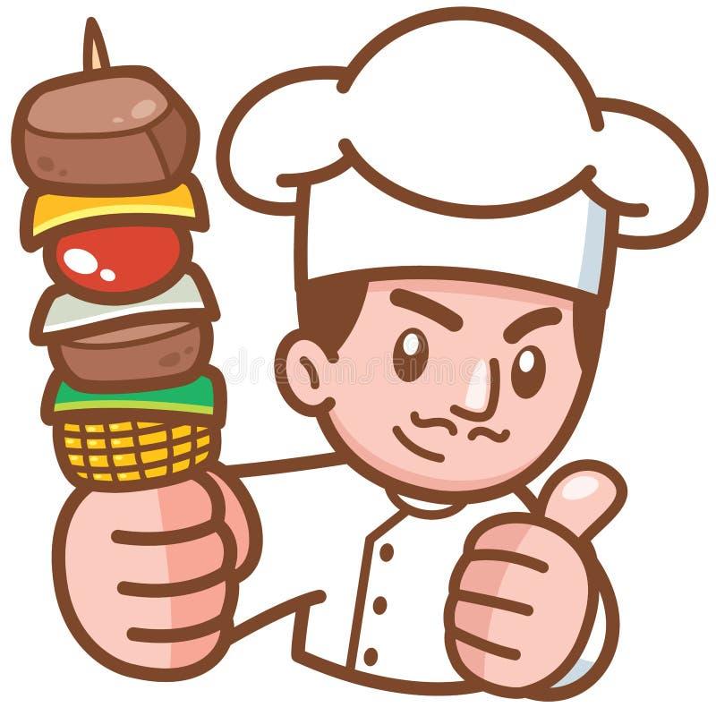 Grilla szef kuchni ilustracja wektor
