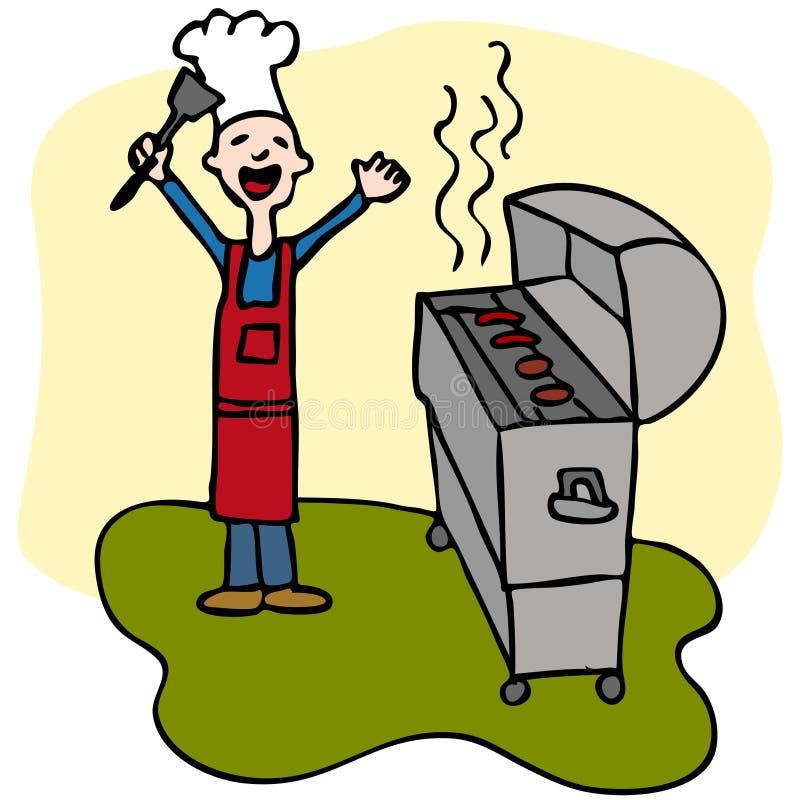 grilla szef kuchni kucharstwa grilla mężczyzna ilustracja wektor