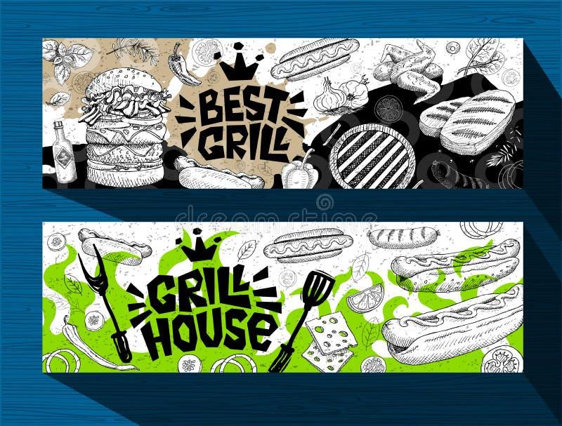 Grilla sztandaru plakat piec na grillu jedzenie, kiełbasy, kurczak, francuz smaży, stki, ryba, BBQ grilla przyjęcie ilustracja wektor