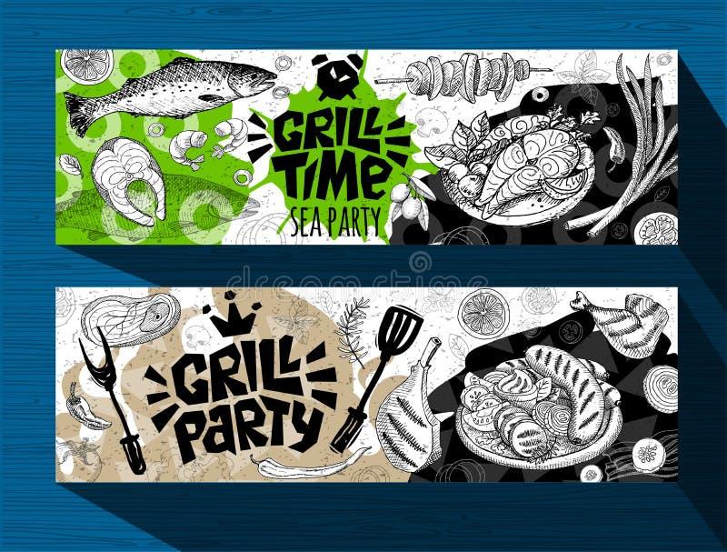 Grilla sztandaru plakat piec na grillu jedzenie, kiełbasy, kurczak, francuz smaży, stki, ryba, BBQ grilla przyjęcie royalty ilustracja
