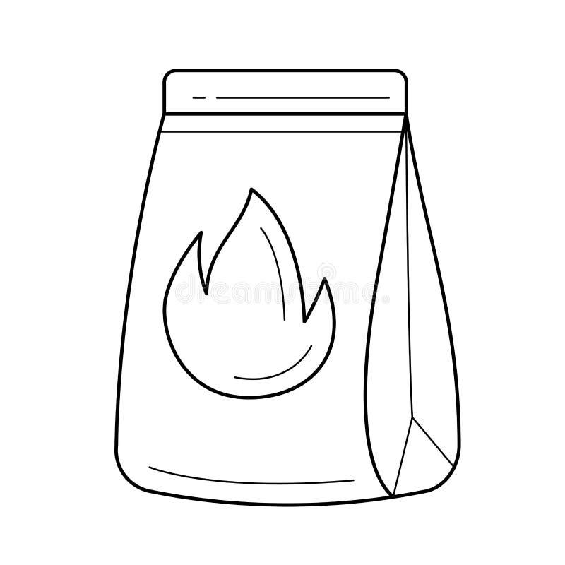 Grilla węgla drzewnego wektoru linii ikona ilustracja wektor