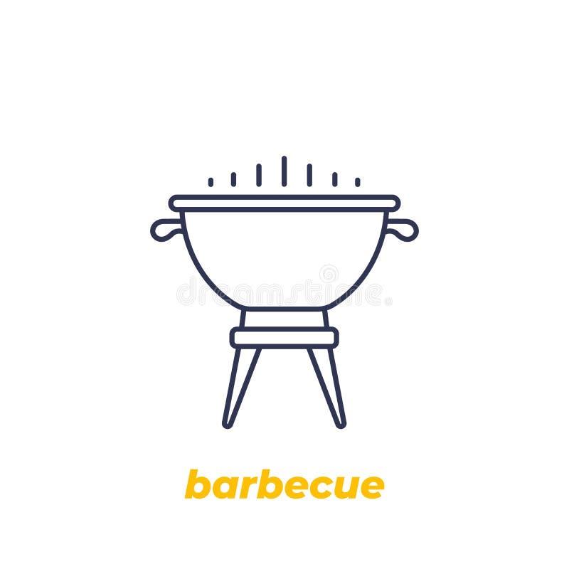 Grilla grilla wektorowa ikona, liniowa ilustracji