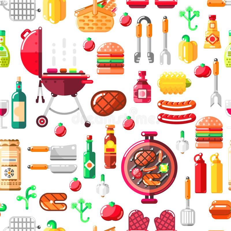 Grilla grilla wektoru bezszwowy wzór BBQ jedzenie, wyposażenie i narzędzia ilustracyjni, Druku lub pakunku nowożytny płaski proje ilustracja wektor