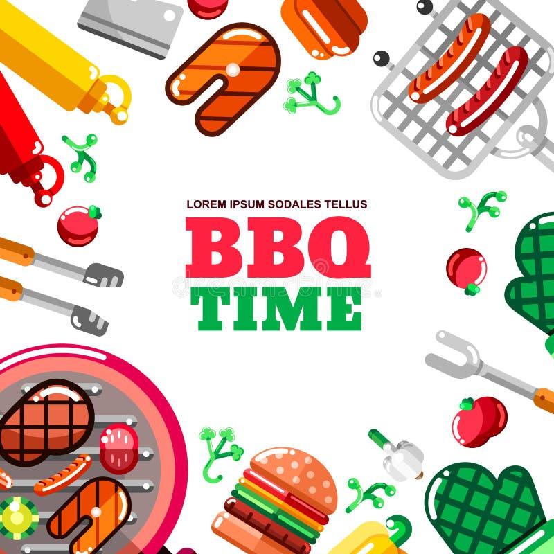 Grilla grilla wektoru rama z białym tłem BBQ jedzenie, wyposażenie i narzędzia ilustracyjni, Sztandar, plakatowy projekt royalty ilustracja
