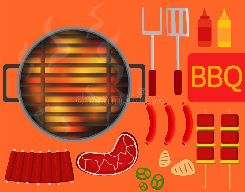 Grilla wyposażenie i Szczególnie gorący grill ilustracji