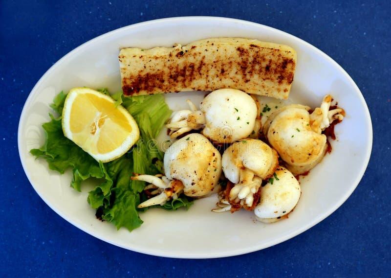 Grillad bläckfisk med polenta och sallad Typisk fiskmaträtt av övreAdriatiskt havet royaltyfria bilder