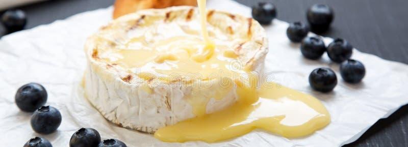 Grillad camembertost, sidosikt Närbild Mjölka produktion arkivfoton