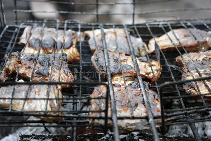 grillad fisk i gallercloseupen BBQ arkivfoton