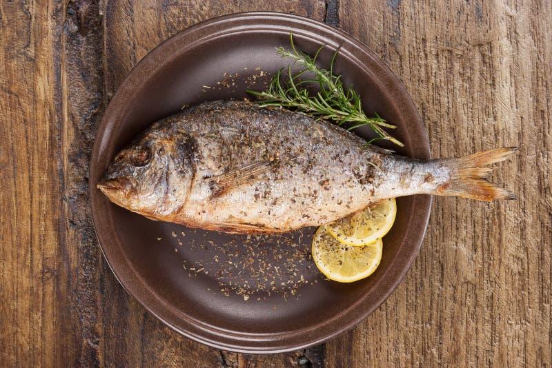 Grillad fisk på plattan från över arkivbild