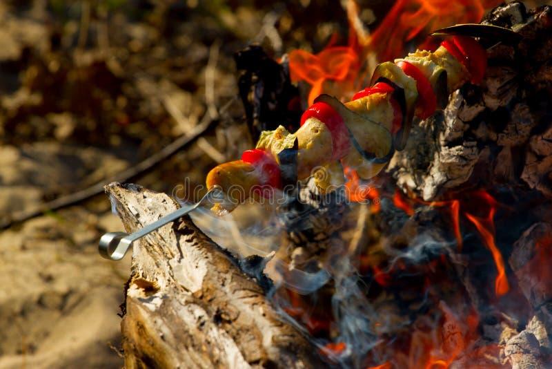Grillad grönsakkebab i den öppna branden på pinnen royaltyfri bild