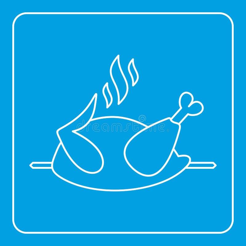 Grillad höna på en gallersymbolsöversikt royaltyfri illustrationer