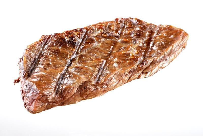 Grillad isolerad nötköttbiff arkivfoton