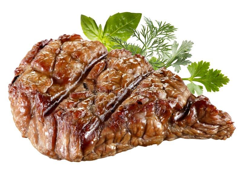 Grillad isolerad nötköttbiff. Snabb bana royaltyfri bild