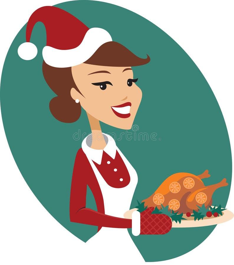 Grillad julkalkon för kvinna innehav royaltyfri illustrationer