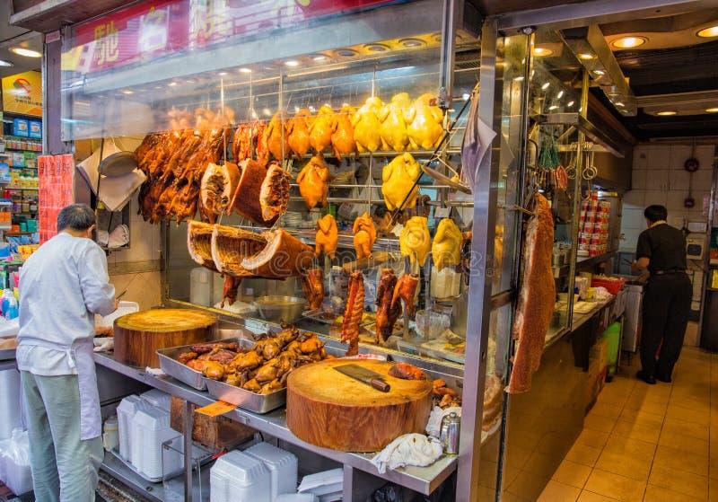 Grillad köttrestaurang, Hong Kong arkivfoto