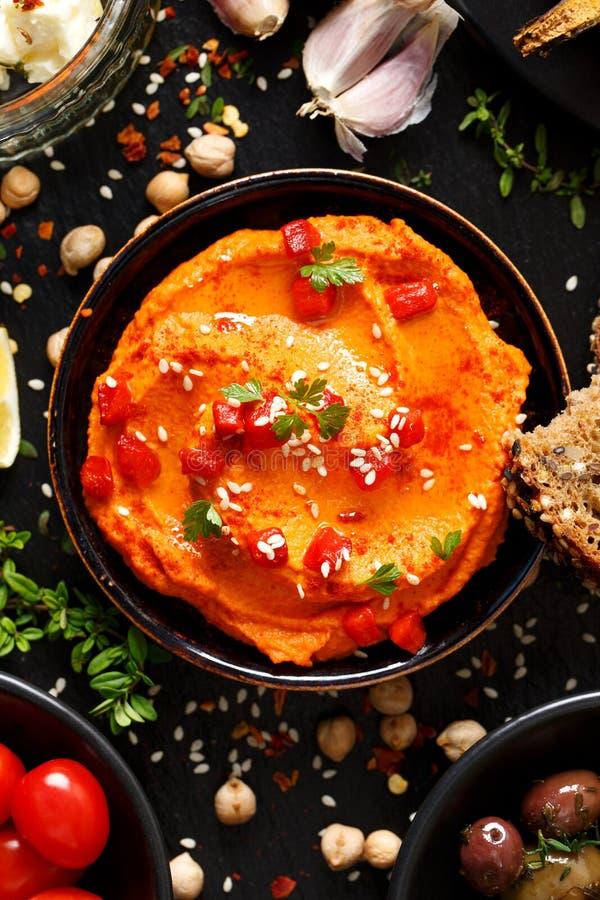 Grillad peppar Hummus fotografering för bildbyråer