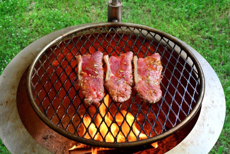 Grillad Rib Eye Steak och avokadosallad - en läcker keto bantar mål med hela foto för en förberedelse royaltyfri fotografi