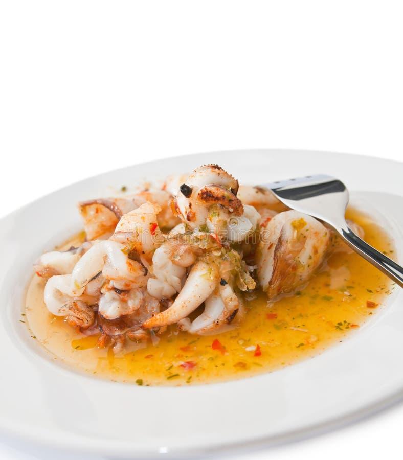 grillad tioarmad bläckfisk royaltyfri foto