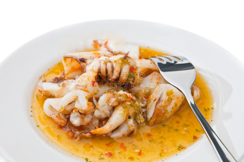 grillad tioarmad bläckfisk arkivfoto