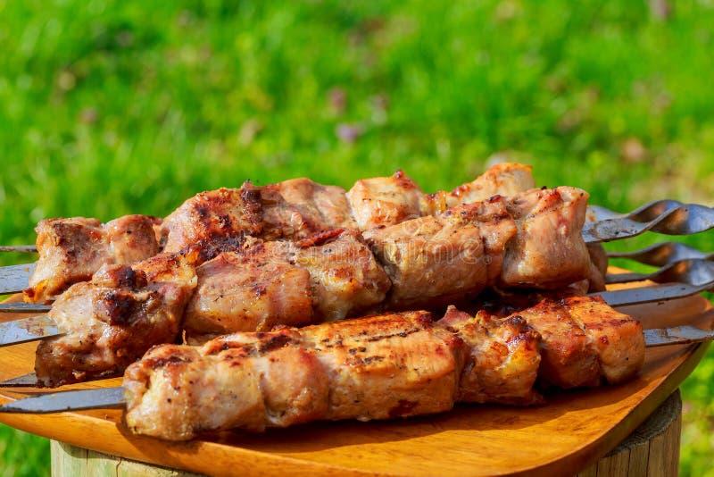 Grillade kött, varma stycken på en leramaträtt, selektiv fokus royaltyfria foton