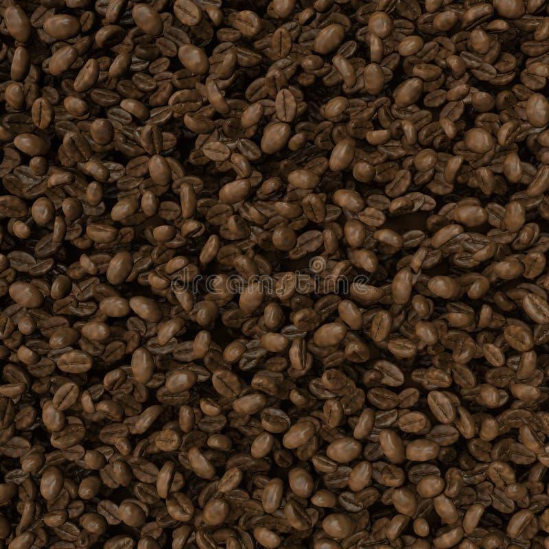 Grillade kaffebönor bakgrund, närbildbild royaltyfri illustrationer