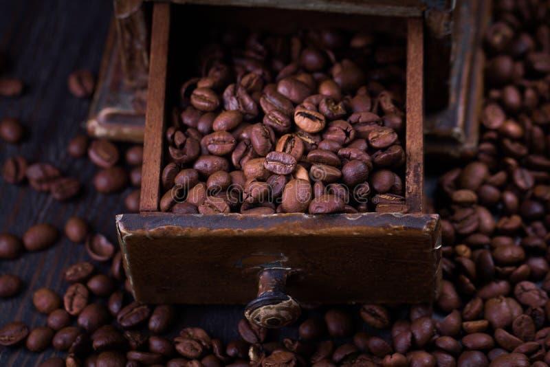 Grillade kaffeb?nor i en tappningkaffekvarn royaltyfri bild