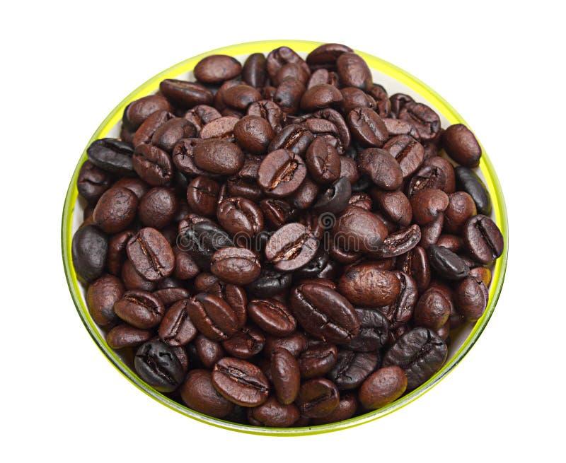 Grillade kaffebönor i grön rund behållare royaltyfria bilder
