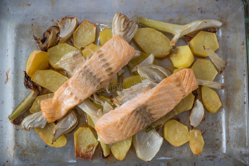 grillade laxgrönsaker royaltyfri foto