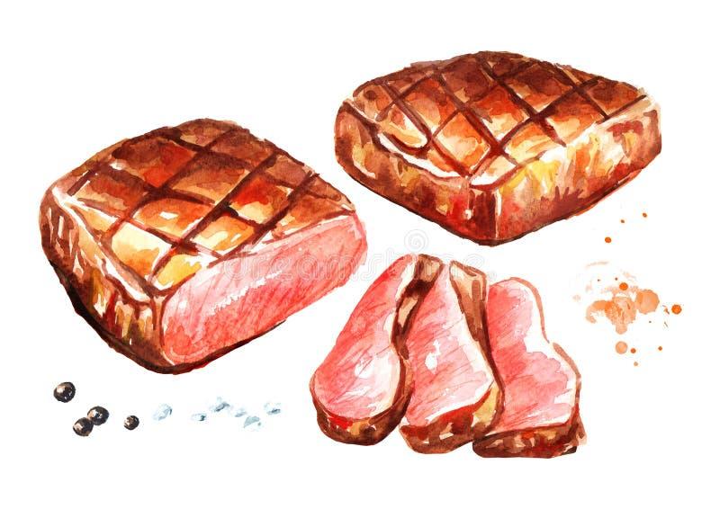 Grillade nötköttbiffar med kryddauppsättningen Dragen illustration för vattenfärg som hand isoleras på vit bakgrund stock illustrationer