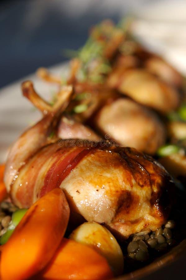 grillade quail royaltyfria bilder
