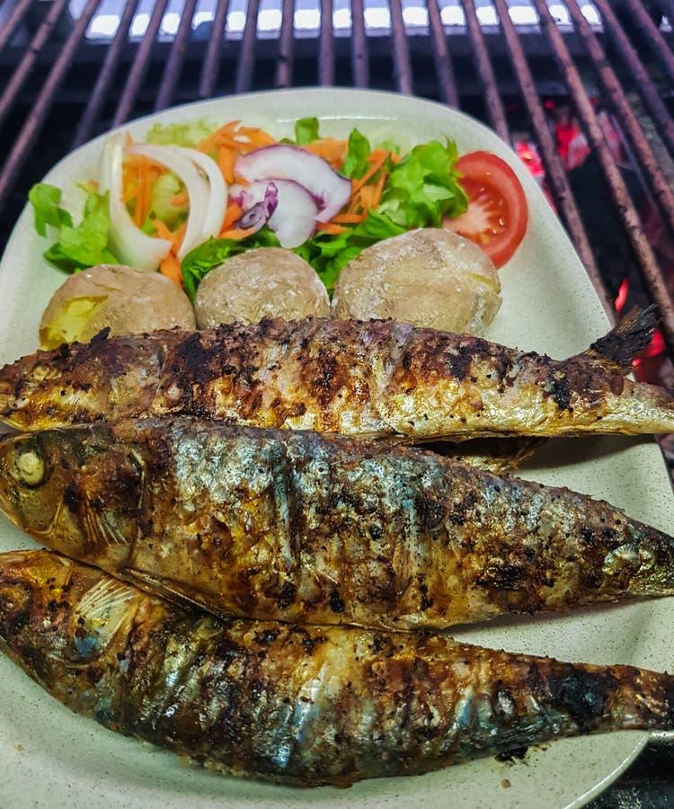 grillade sardiner med kokta potatisar och sallad i den vita plattan som är klar till tjänat som royaltyfri fotografi