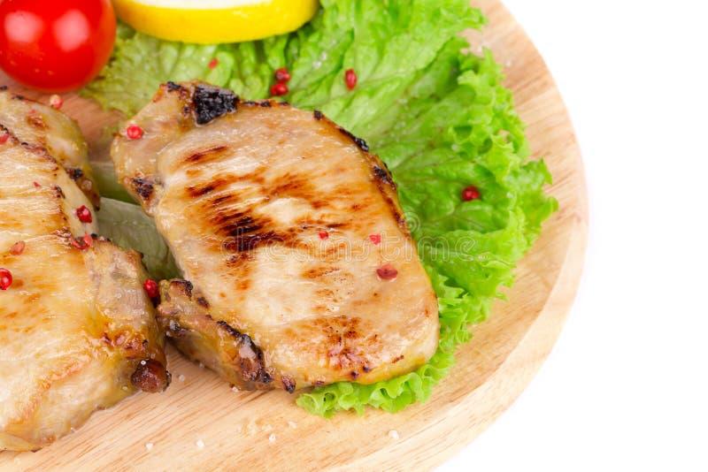 grillade steakgrönsaker arkivbilder