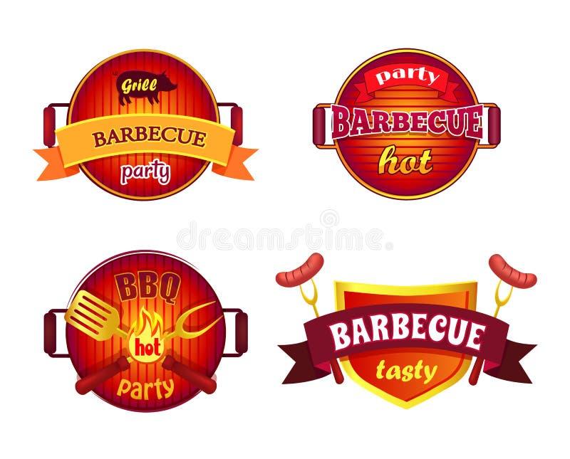 Grillar fastställda symboler för BBQ-parti vektorillustrationen royaltyfri illustrationer