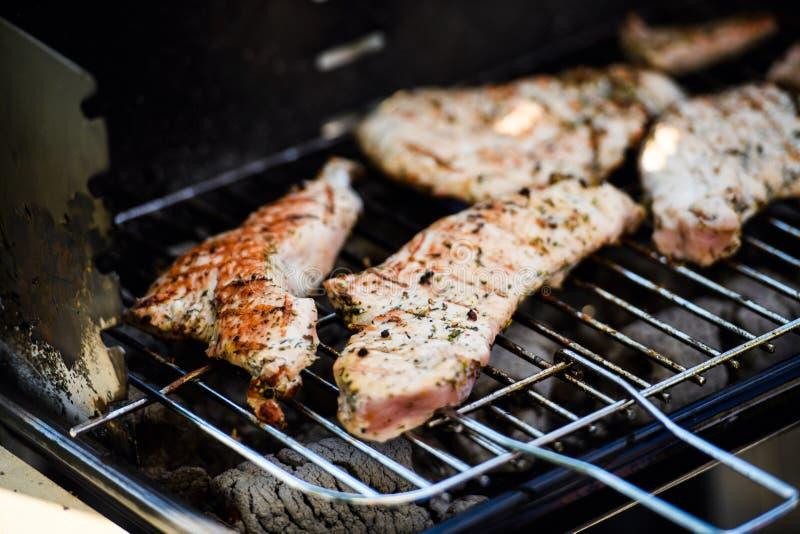 Grillat k?tt, grillfest Fj?dra den tid? ron l?mnar, naturlig bakgrund fotografering för bildbyråer