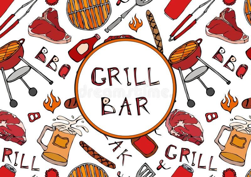 Grillbar Nahtloses Muster der Sommer BBQ-Grill-Partei Bier, Steak, Wurst, Grill-Gitter, Zangen, Gabel, Feuer, Ketschup Hand gezei vektor abbildung