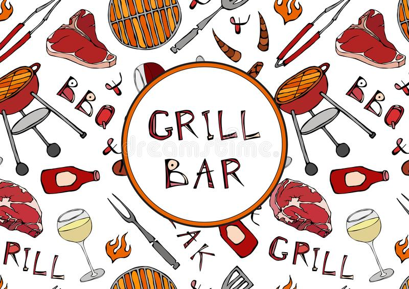 Grillbar Nahtloses Muster der Sommer BBQ-Grill-Partei Glas Rot, Rose, weiße Rebe, Steak, Wurst, Grill-Gitter, Zangen, Gabel, vektor abbildung